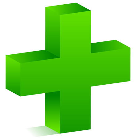 3d green cross for healthcare, support, first aid concepts. Illustration