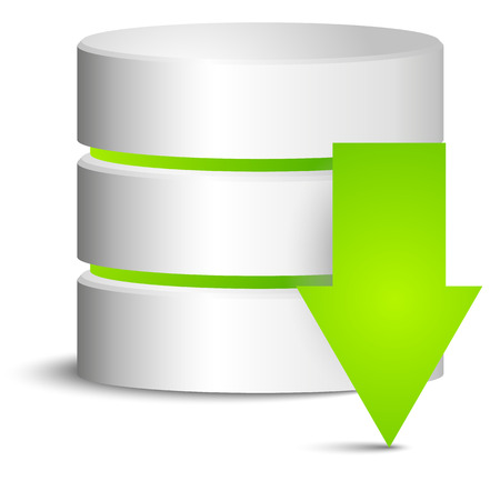 Cylinder with green download arrow Vector