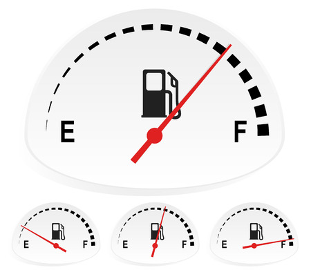 Fuel indicators set at 4 stages. Empty, full fuel tank concepts, fuel consumption concepts.