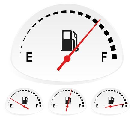 Fuel indicators set at 4 stages. Empty, full fuel tank concepts, fuel consumption concepts.