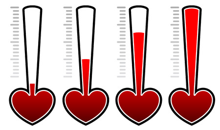 Heart rating elements. Set levels adjusting opacity masks Illustration