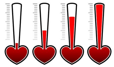Heart rating elements. Set levels adjusting opacity masks Illustration