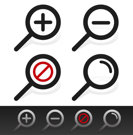 clues: Magnifier symbol set