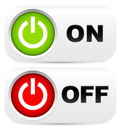 Power buttons with on, off labels