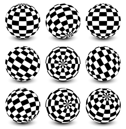 Spheres with checkered texture Vector