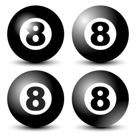 8 ball: Black 8 ball, blackball in 4 versions Illustration