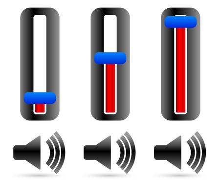 multi level: Volume control sliders with speaker symbols