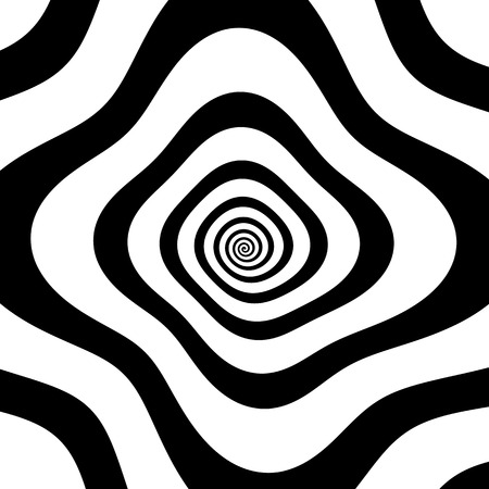 psychodelic: Black and white spiral with distortion