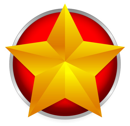 Golden star emblem - Beveled gold star on bright red circle. Vector