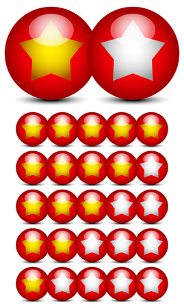 star rating: Grafica per categoria con stelle dorate su sfere rosse