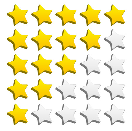 valuation: 3d rounded star rating for rating, valuation, review concepts. Vector graphics. Illustration