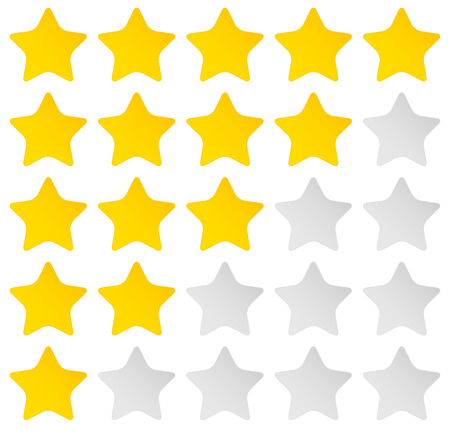 good judgment: Simple rounded star rating. With outlines makes the stars pop out from background