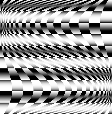 Checkered pattern with wave effect Vector