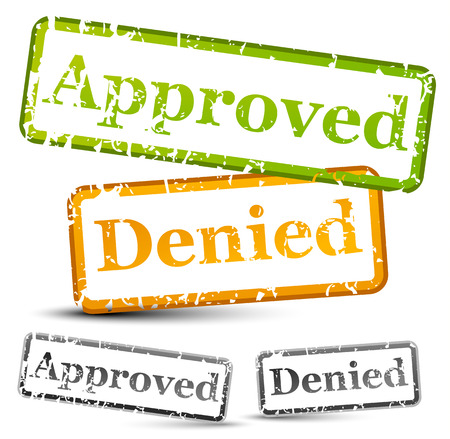 verified stamp: Approve and denied rubber stamps with weathered, grungy texture (with opacity mask) Illustration