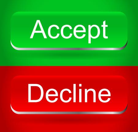 Stylish, modern accept, decline buttons Vector