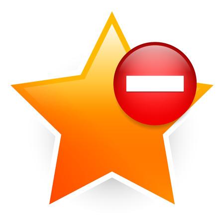 favoritos: Icono favorita con menos. Eliminar de los favoritos, votar en contra. Vectores