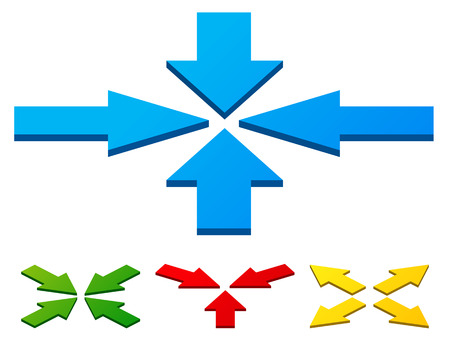 outward: Different inward, outward arrows with 3d effect.