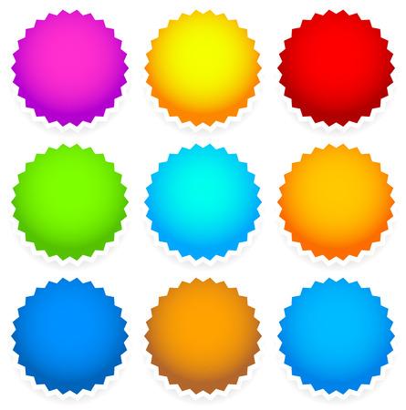 9 bright blank badge, starburst shape Vector