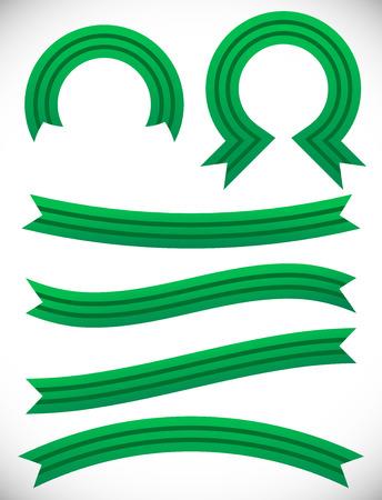 semicircle: Striped green banner set -  Semicircle, circle, arching, wavy, slanting...