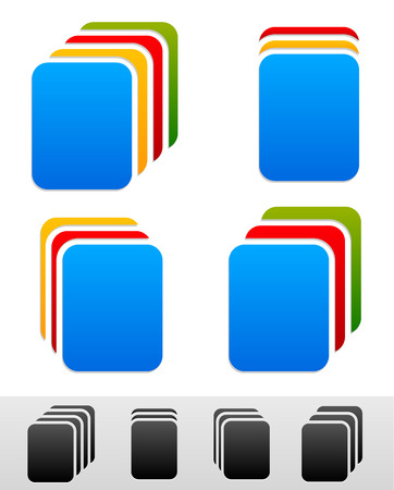 multi layered: Document stacks, colorful sheets. Black version included Illustration