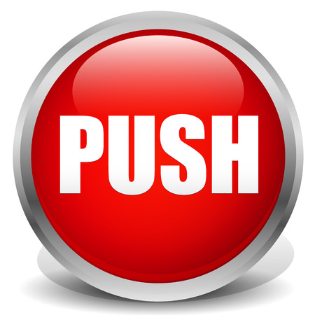 push button: Button with word with thick metallic frame (Red push button) Illustration