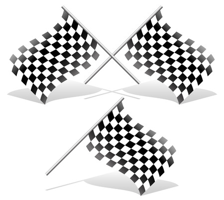 Checkered and single racing flags with shadows. Checkered racing flags. Vector