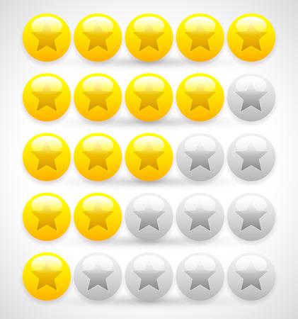 star rating: Palle lucide stelle. Voto 5 stelle vettoriale.