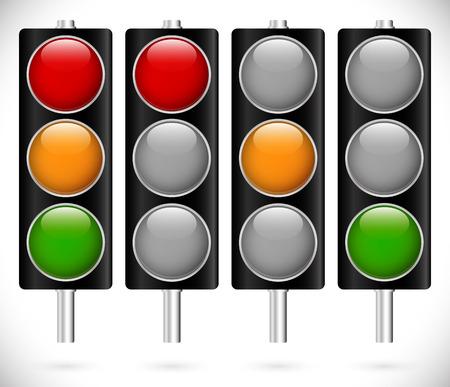 traffic light: Traffic lamps on metallic poles Illustration