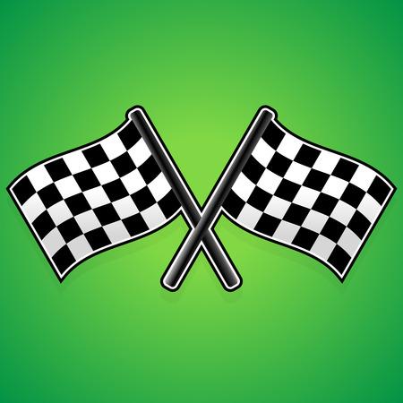 Crossed racing flags Illustration