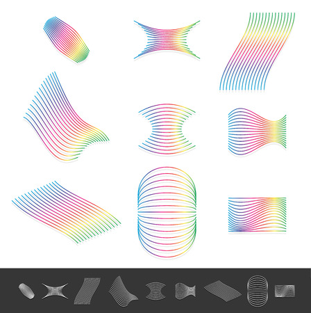 polychromatic: Different line design elements with spectrum color. Monochrome versions included Illustration