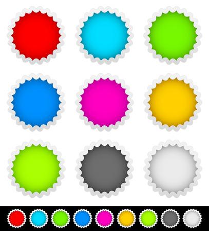 18 bright blank badge, starburst shapes Vector