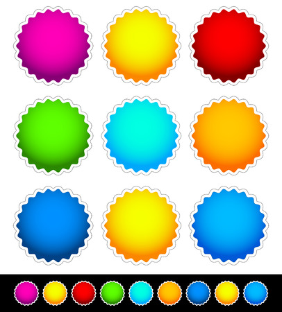 Bright blank bade set - 2 Variation, 9 Bright color Vector