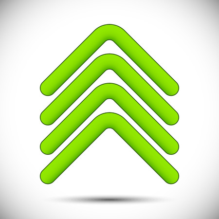 pointing arrows: Set of four green upward pointing arrows designed as parallel bars for internet and web use to show an increase, profit or success or as a direction pointer, vector design element