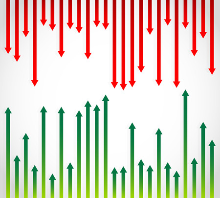 opposing: Fluctuating green and red arrows pointing in opposite directions showing opposing trends of upward growth and downward losses, vector illustration