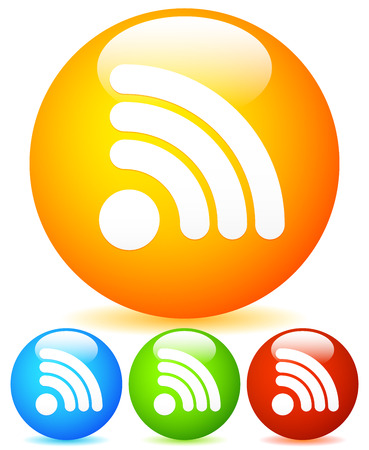 Generic Signal or RSS Feed shape vibrant icons Vector