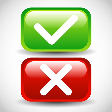 glossy buttons: Segno di spunta e attraversare tasti lucidi Vettoriali