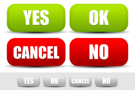 yes or no: Vector illustration of buttons with words Yes, Ok, Cancel, No confirmation buttons