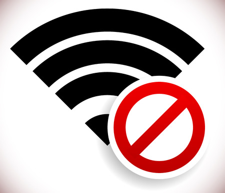 Vector illustration of no wireless signal, bad antenna, no wi-fi connection