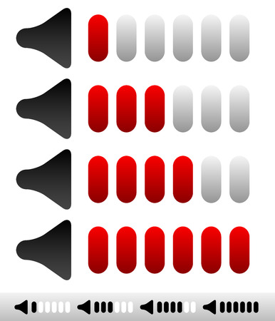 Vector illustration of a simple sound volume indicator or adjusters with bars. Vector