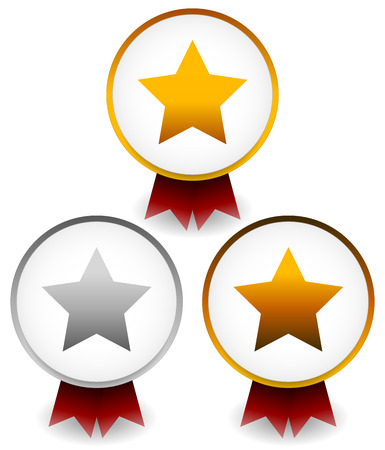 ten best: Vector illustration of golden, silver, bronze star badges with ribbons for award, prize, championship, reward themes.