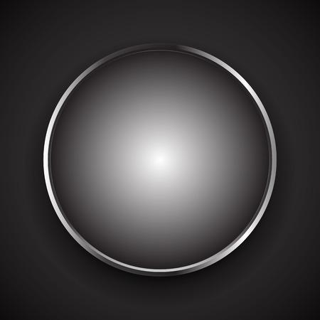 circle frame: Stylish circle object with shiny, metallic border