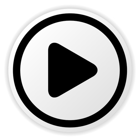 Ilustración vectorial de un simple botón redondeado círculo de juego para multimedia, inicia conceptos de vídeo, música. Ilustración de vector