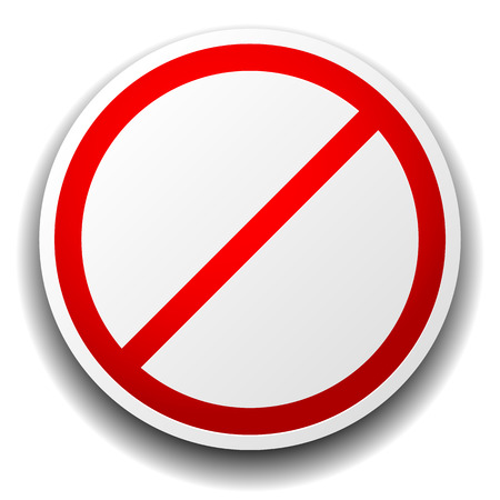 Vector illustration of a prohibition sign isolated on white for no entry, no entrance, wrong way or banning something concepts.