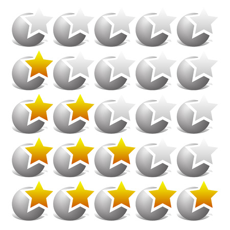 good judgment: Vector illustration of a star rating template for review, customer satisfaction similar concepts. Illustration