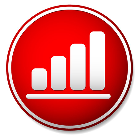 Vector illustration of a simple bar chart, bar graph icon in red