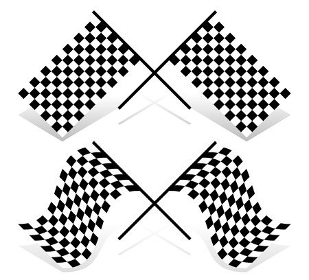 Vector illustration of crossed racing flags. Resting and waving versions included Vector