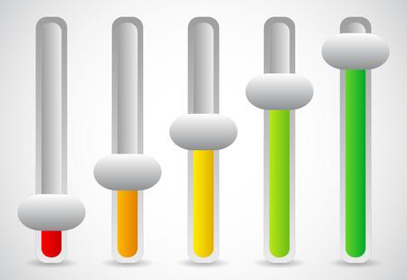 fader: Vector illustration of multicolor sliders, user inteface, ui, gui elements. Illustration