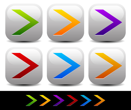 arrowheads: Vector illustration of colorful sharp arrowheads pointing right