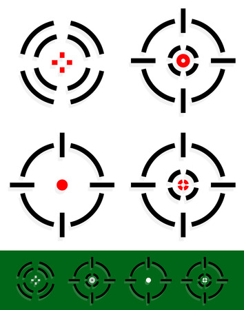 Vector illustration of crosshair, reticle, target mark set. Four different cross-hairs with red midpoint.