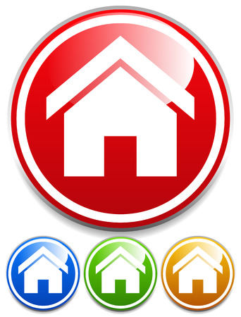 Vector illustration of a set of glossy house icons in red, blue, green and yellow  イラスト・ベクター素材